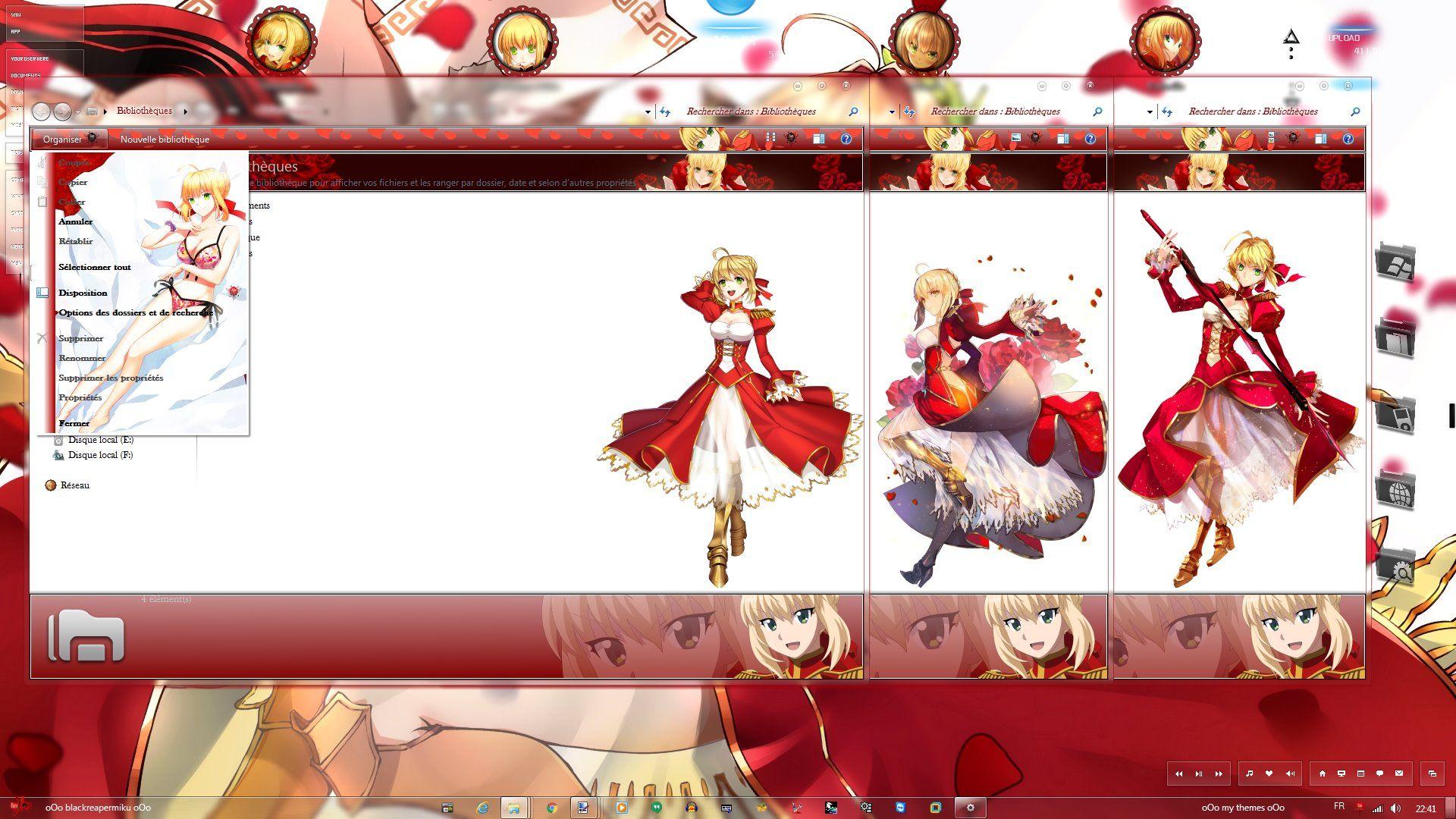 尼禄,Fate/Extra,win7主题,红saber,动漫电脑主题