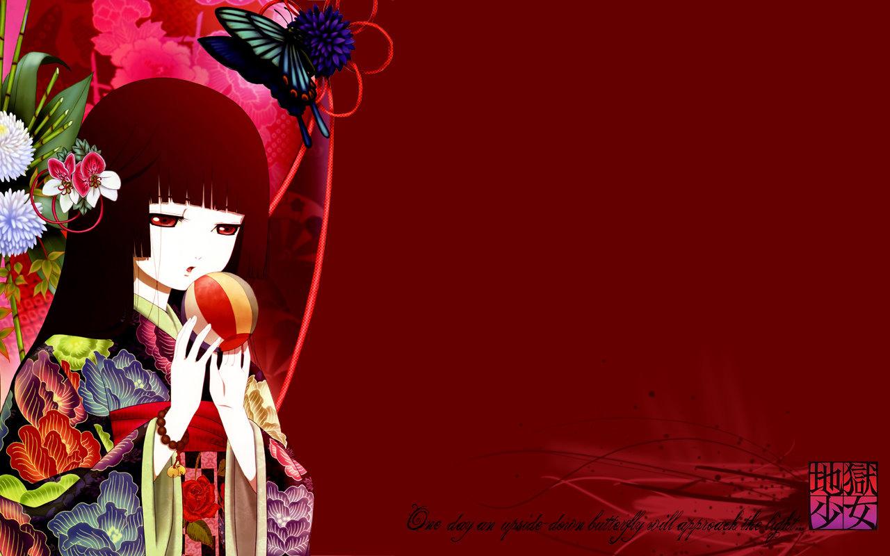 """阎魔爱,日本动漫《地狱少女》中的女主角。表面上是个普通初中生,其真实身份是地狱少女。要是有人登录地狱通信,就会接受委托,工作时会穿上和服,将受诅人流放至地狱。被三人称呼为""""小姐"""",平时是面无表情,是个三无少女,鲜有情绪波动。"""