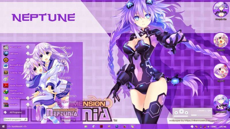 紫色之心,超次元,海王星,win8主题,动漫电脑主题