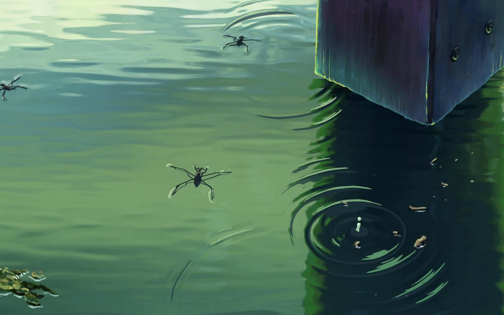 新海诚巨作《言叶之庭》绿色护眼电脑桌面壁纸第三辑图片