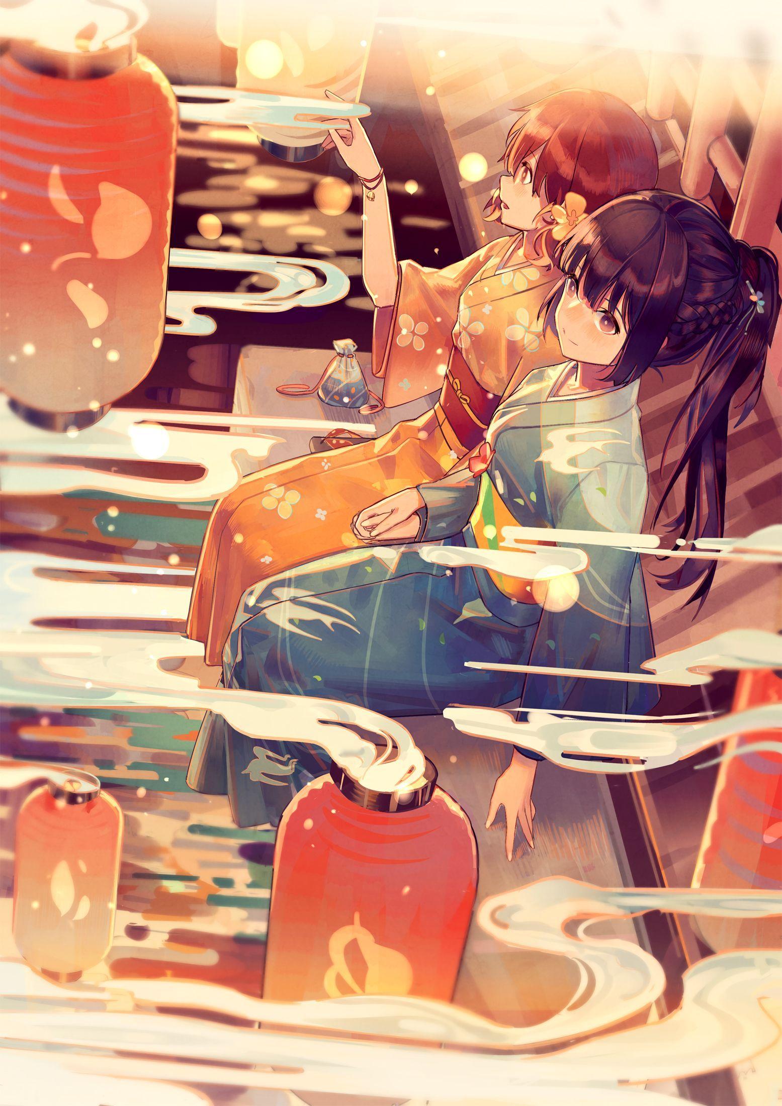 动漫本子,动漫和服少女,夏日祭
