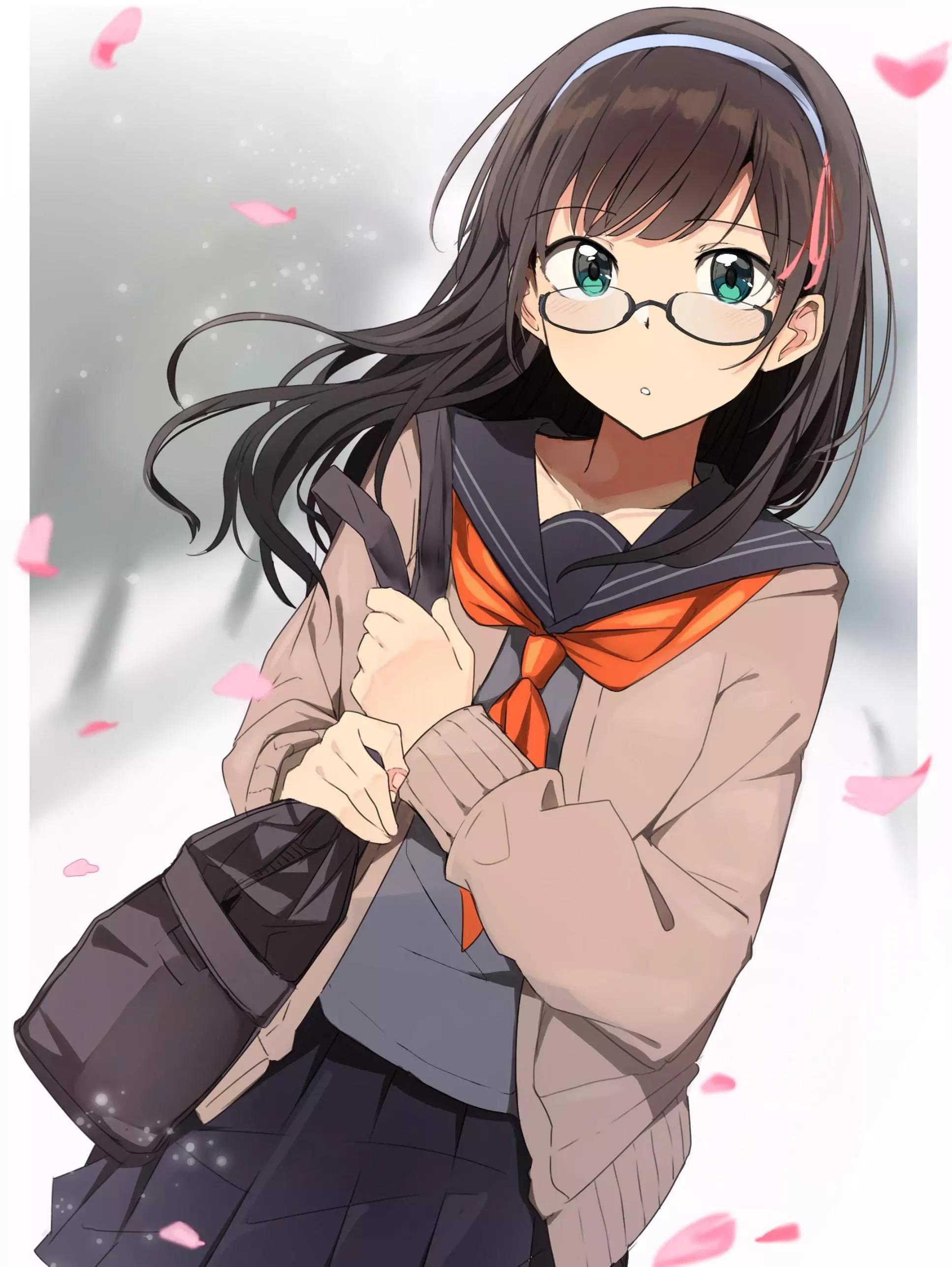 动漫唯美手机壁纸,二次元戴眼镜少女,眼镜娘唯美壁纸