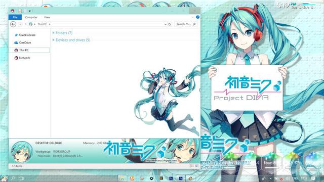 Windows10,萌化电脑主题,初音未来