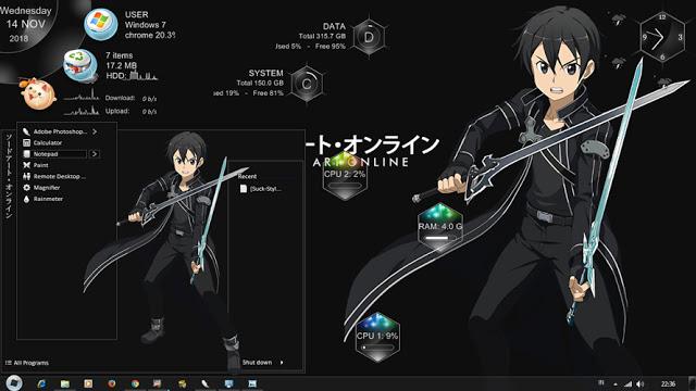 Windows7,萌化电脑主题,刀剑神域,桐谷和人