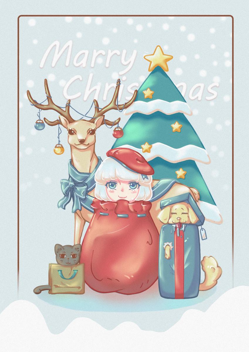 圣诞节,萌娘,手机壁纸,二次元壁纸,动漫壁纸