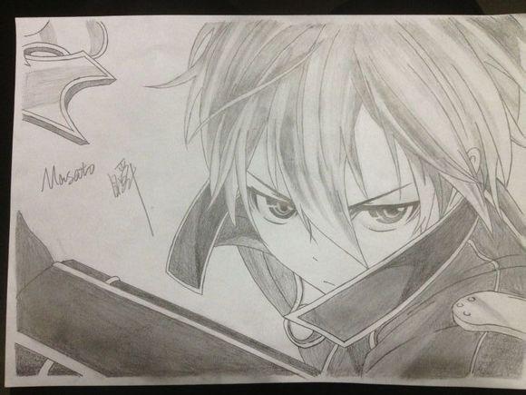 【手绘】刀剑主角铅笔手绘 桐人简直酷毙